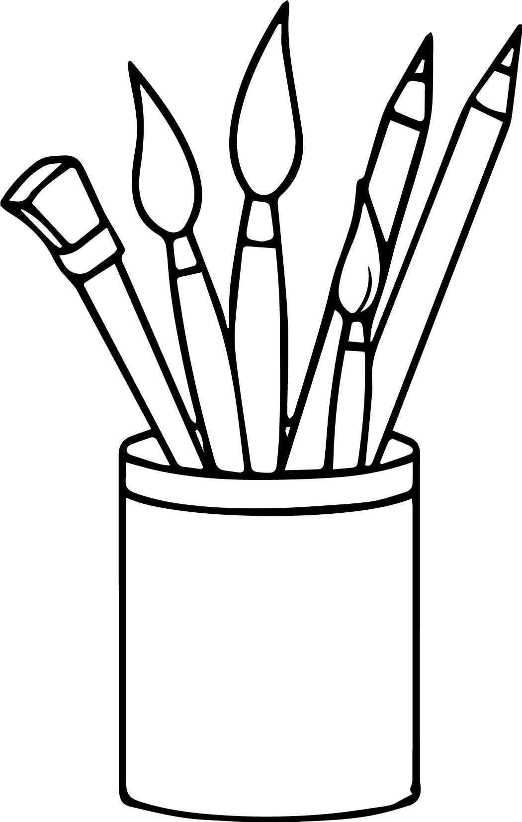 Art Supplies Clipart Black And White.