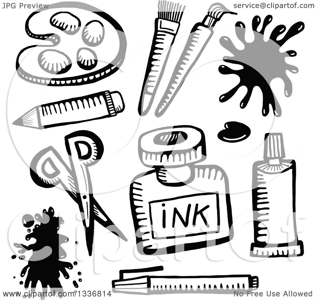 Clipart of Sketched Black and White Doodled Art Supplies.