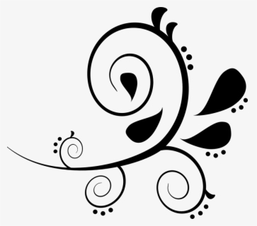 Free Swirl Black And White Clip Art with No Background.