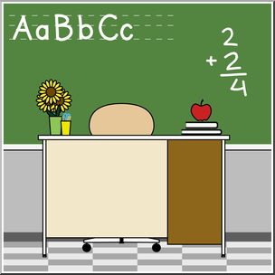 Clip Art: Teacher\'s Desk Color I abcteach.com.