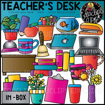 Teacher\'s Desk Clip Art Set {Educlips Clipart}.