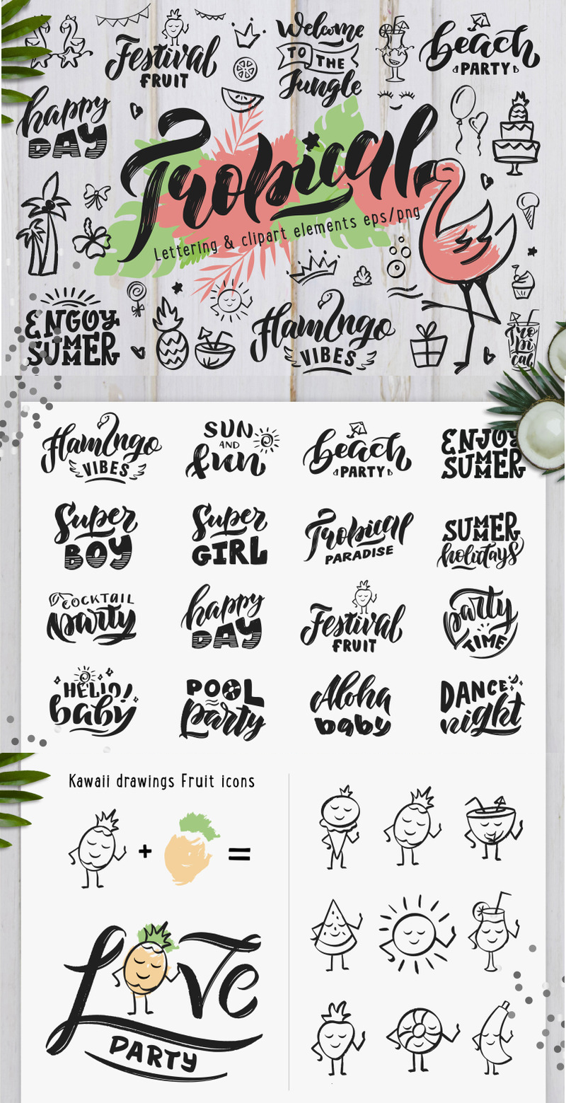 Download Tropical Summer style Hand Drawn Lettering and Clip.