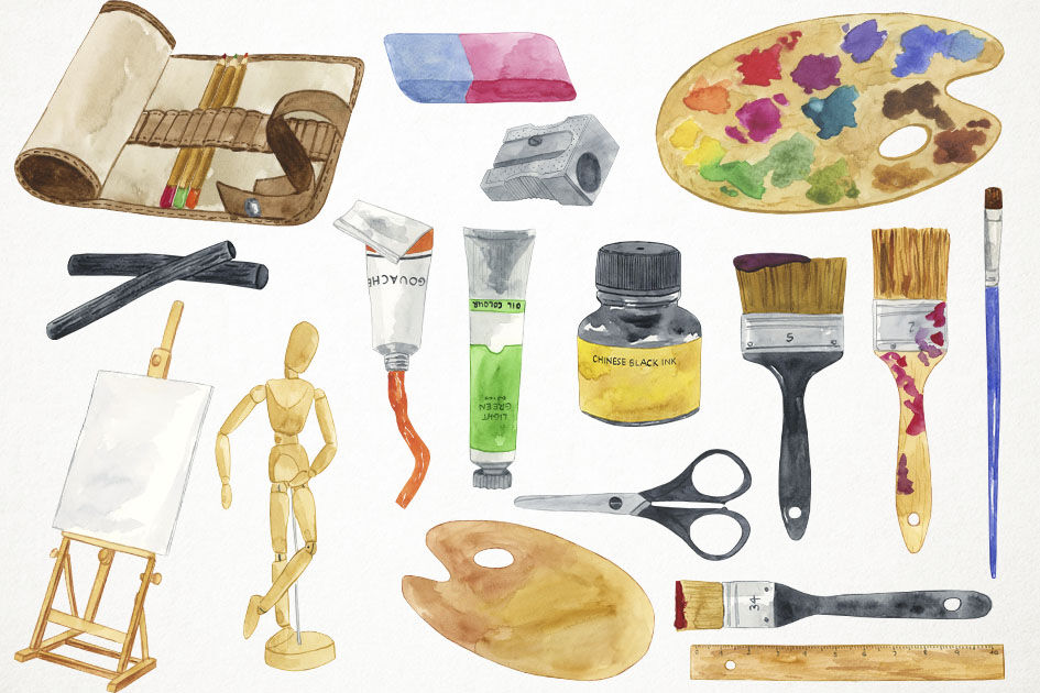 Watercolor Arts Supplies Clipart, Art Supplies Clip Art.
