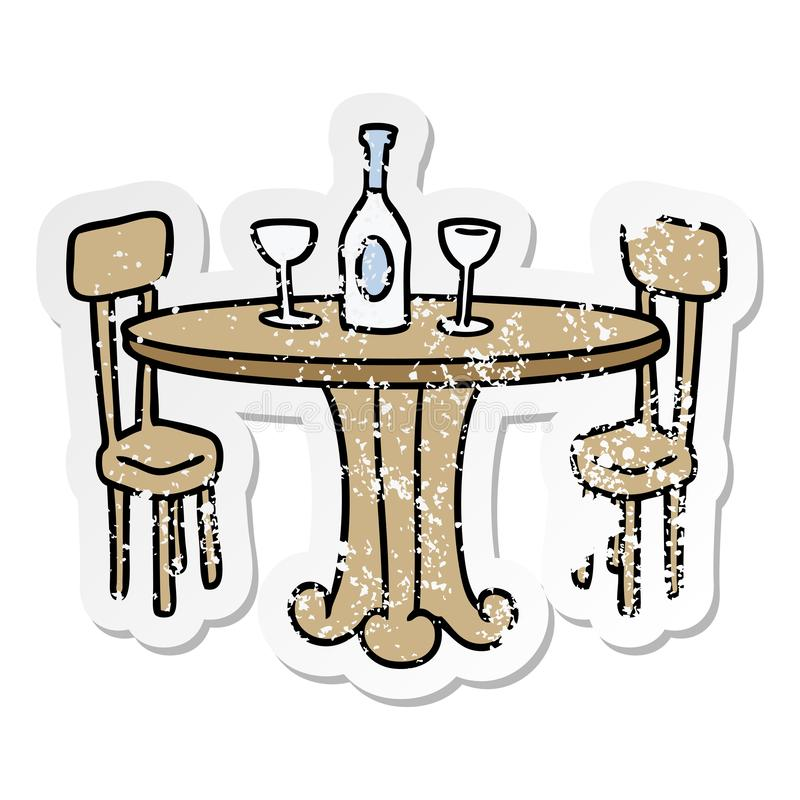 Cartoon Dining Table Food Drinks Wine Eating Out Free Hand Drawn.