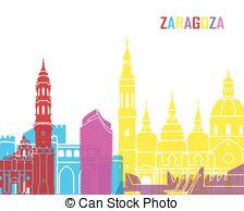 Zaragoza skyline Clip Art Vector Graphics. 9 Zaragoza skyline EPS.