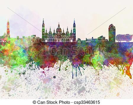 Clipart of Zaragoza skyline in watercolor background csp33463615.