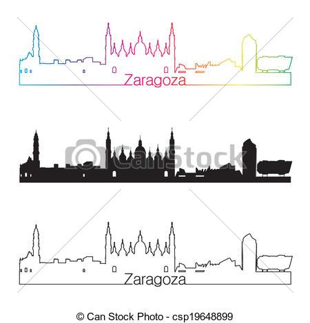 EPS Vectors of Zaragoza skyline linear style with rainbow in.