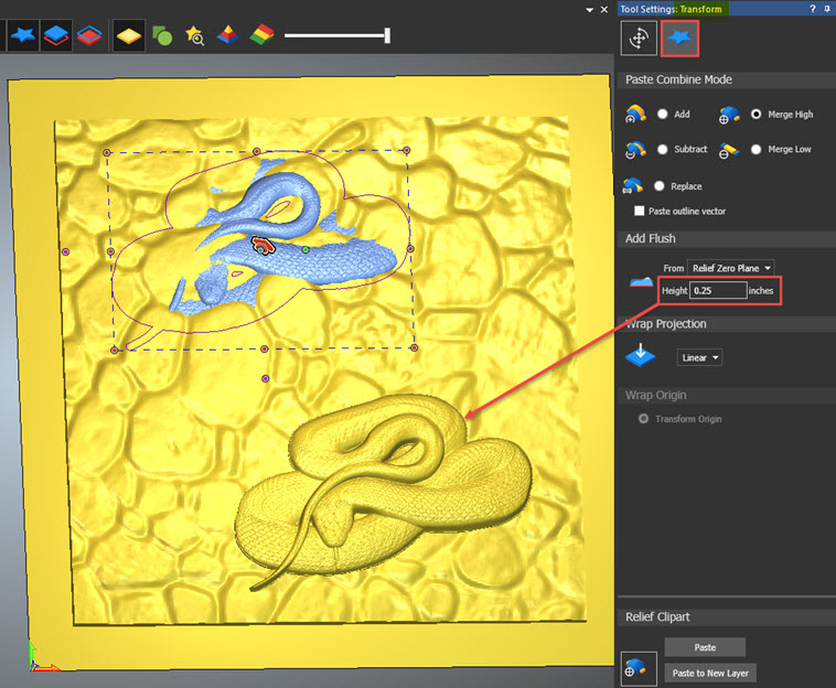 Paste a relief clipart in ArtCAM without it forming to the.