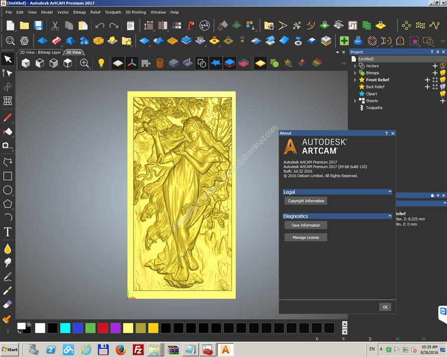 Download Autodesk ArtCAM Premium 2017 SP2 x64.