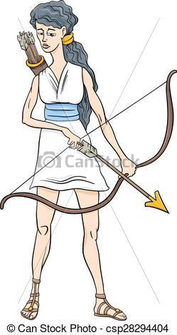 Vector Clipart of greek goddess artemis cartoon.