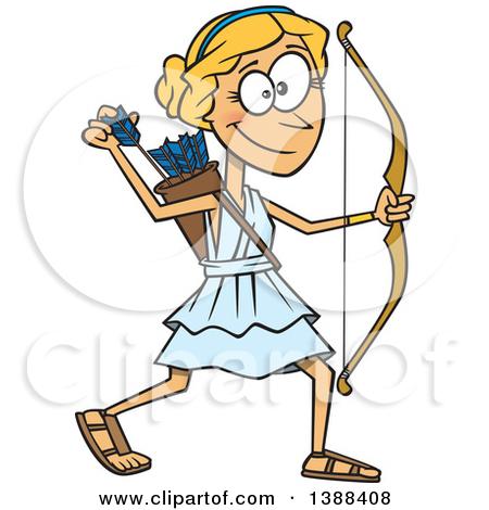 Clipart of a Cartoon Artemis Shooting Arrows.