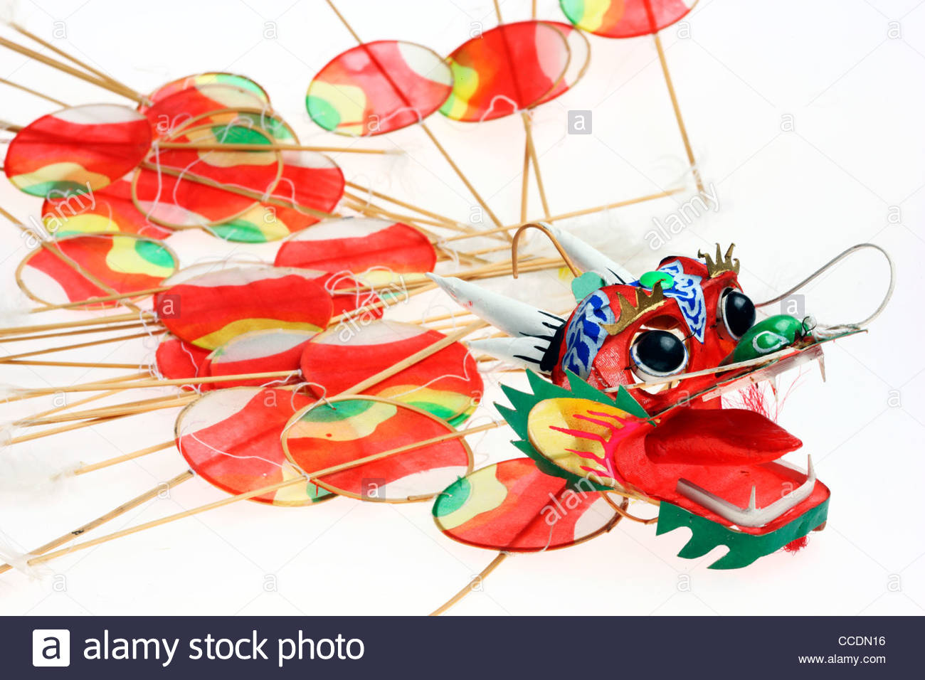 Asian Dragon Kite, Artfully Paper Kite With A Dragon Head Stock.