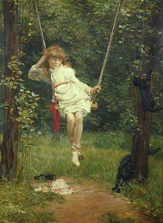 Watercolor+Girl+On+Swing+Silhouette.