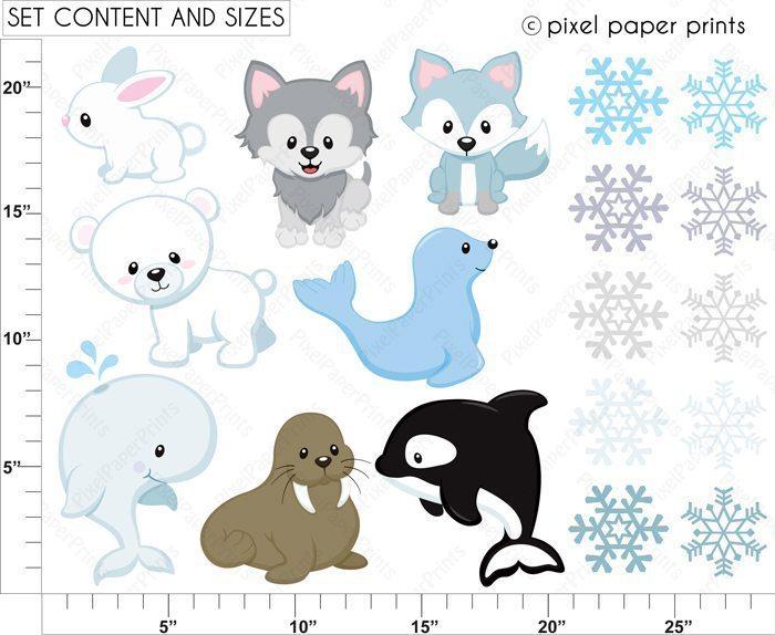 Arctic animals Clipart & Digital Papers.
