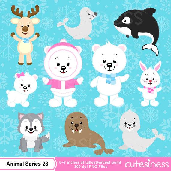 Polar bear Clipart, Polar bear clipart, Arctic animal clipart.
