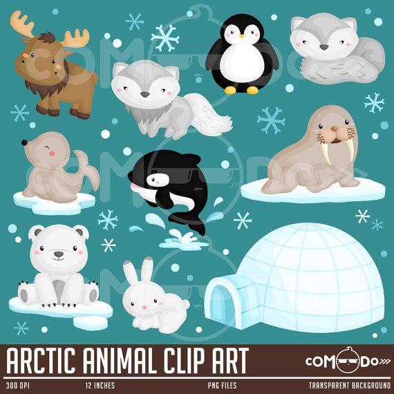 Arctic Animal Clipart, Arctic Animal Clip Art, Arctic Animal.