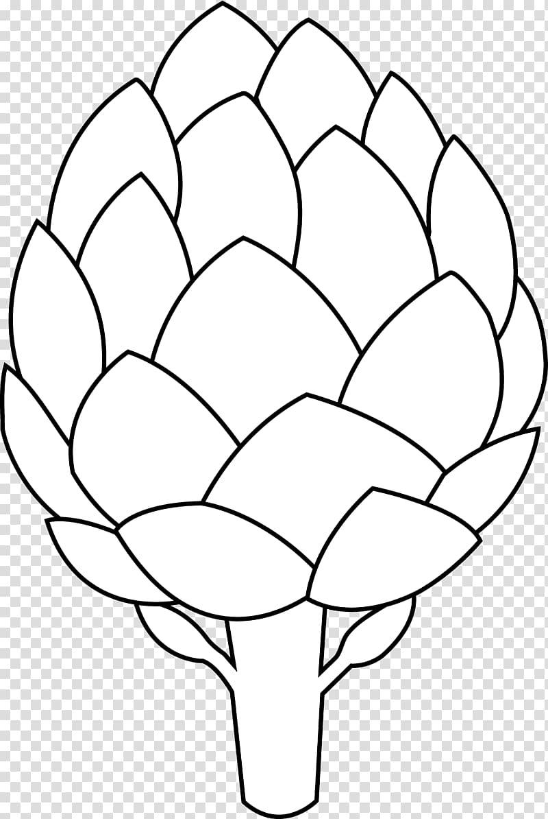 Artichoke Drawing Vegetable , Black And White Flower Outline.