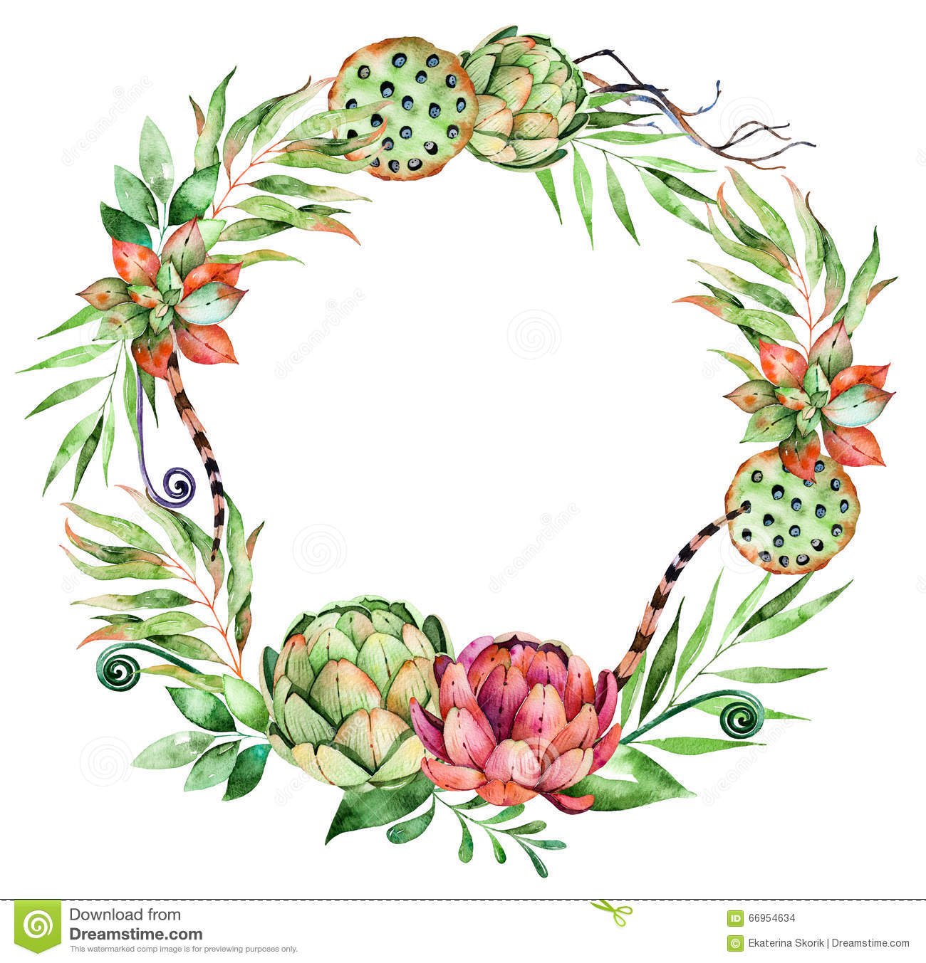 Colorful Floral Wreath With Artichoke,flowers,leaves,feathers.