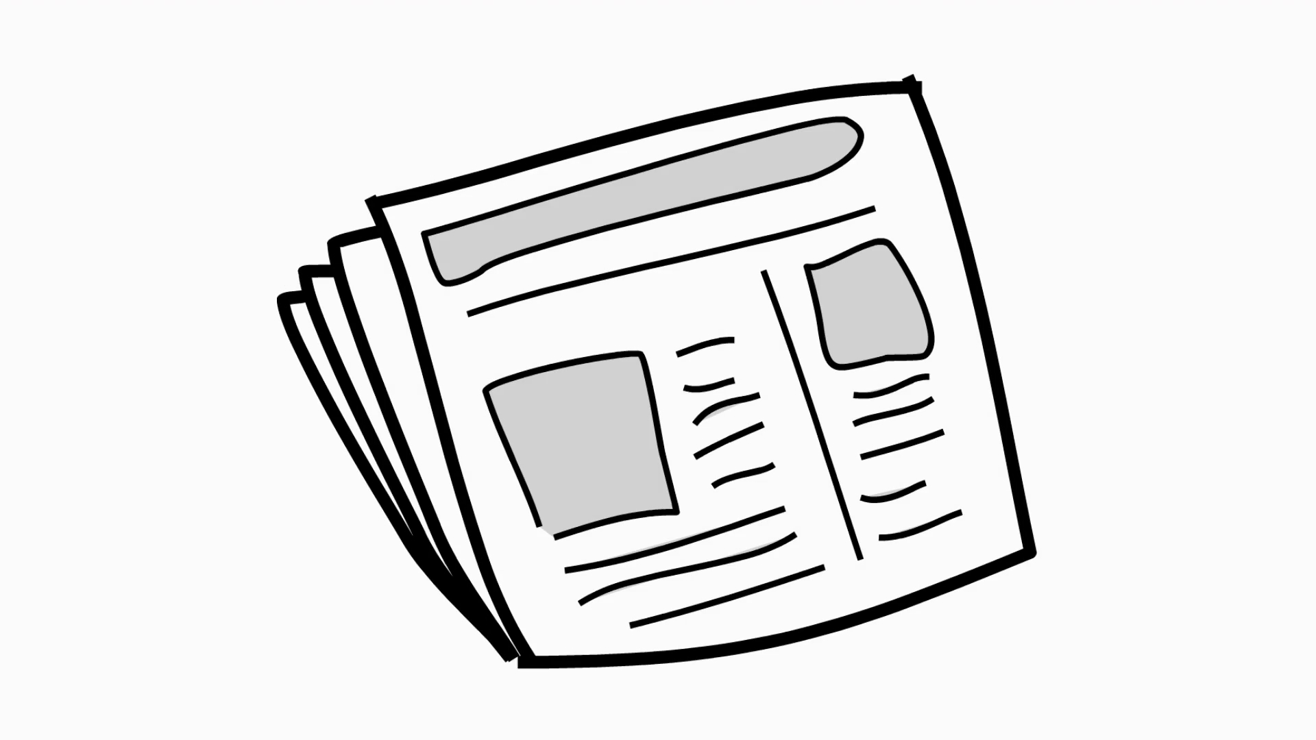 News Paper Line Drawing Illustration Animation With Transparent.