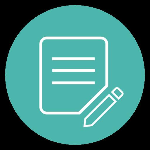 Article, circle, edit, paper, pencil icon.