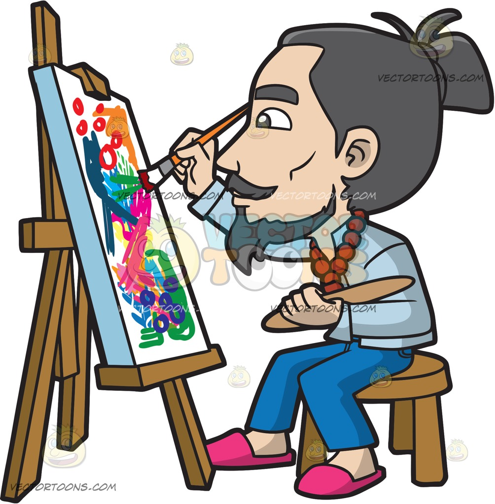 Painting clipart artistic person, Painting artistic person.
