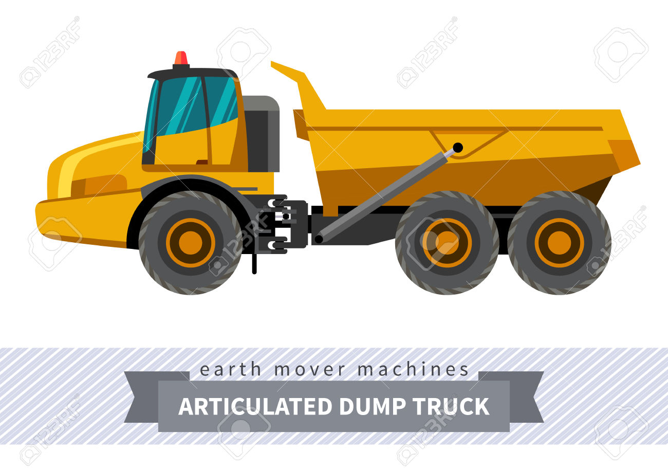 Articulated Dump Truck. Heavy Equipment Vehicle Isolated Color.