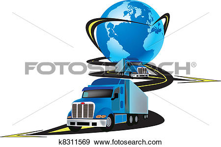 Clip Art of articulated vehicle transport k8311569.