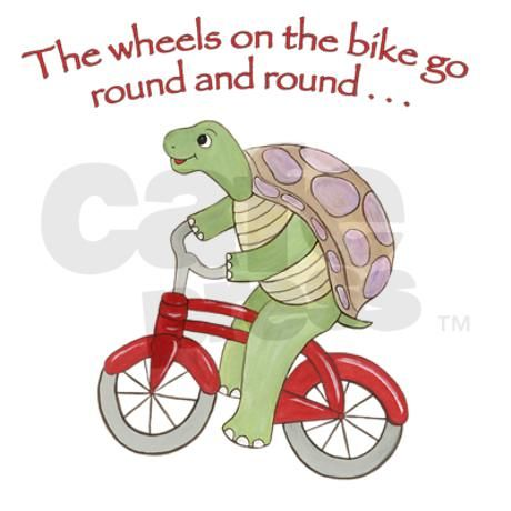Turtle on Bike Note Cards (Pk of 10) Turtle Riding Bicycle.