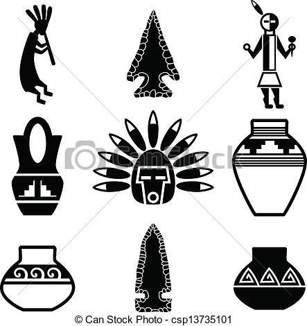 Vector Clipart of Southwestern Native Artifact Icons.