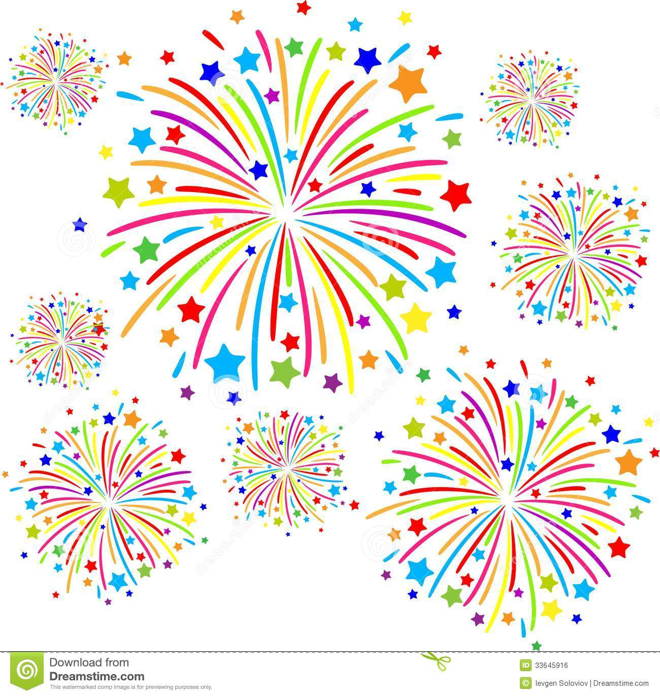 Colorful firework clipart.