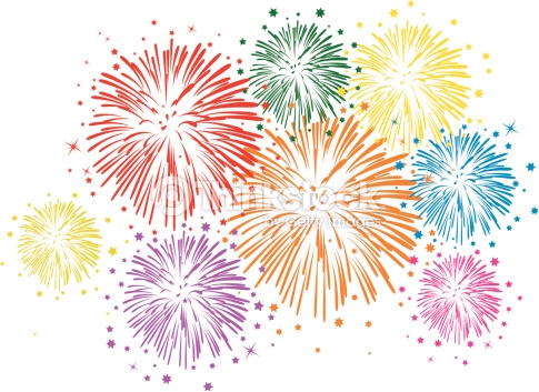 Vector Colorful Fireworks On White Background Vector Art.