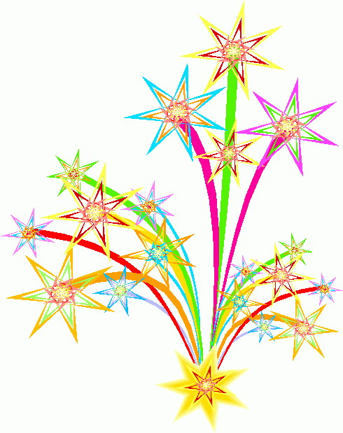New Year's Fireworks Clipart.