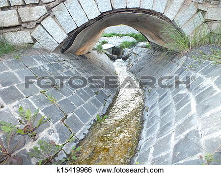 Stock Images of An artificial brook with a bridge k15419966.