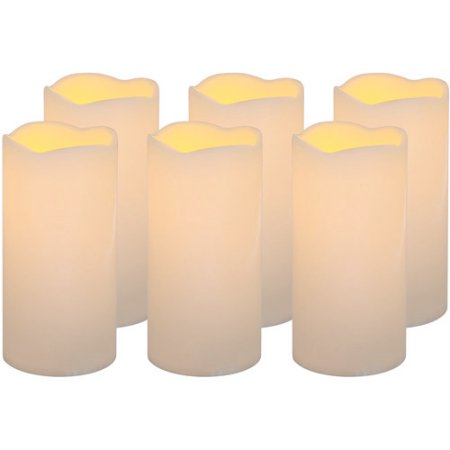 Mainstays Flameless LED Pillar Candle, Set of 6.