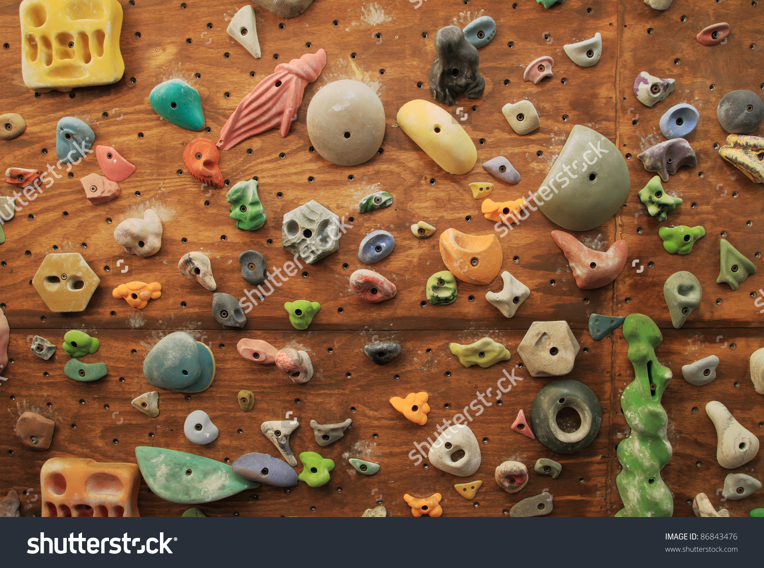 Homemade Artificial Climbing Wall Covered Colored Stock Photo.