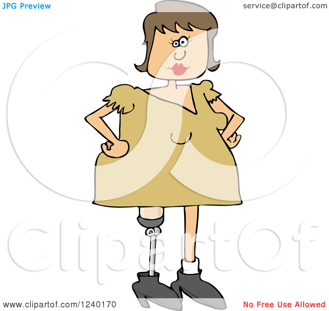 Clipart of a Caucasian Woman with an Artificial Prosthetic Leg.