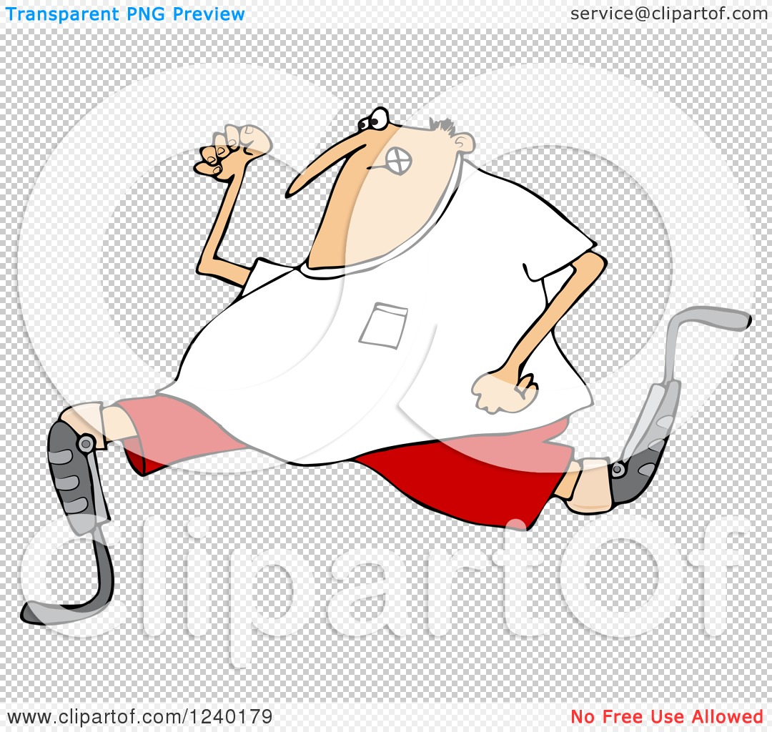 Clipart of a Caucasian Man Running with an Artificial Prosthetic.