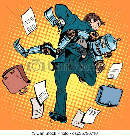 Vector Clip Art of Fighting robot and human, artificial.