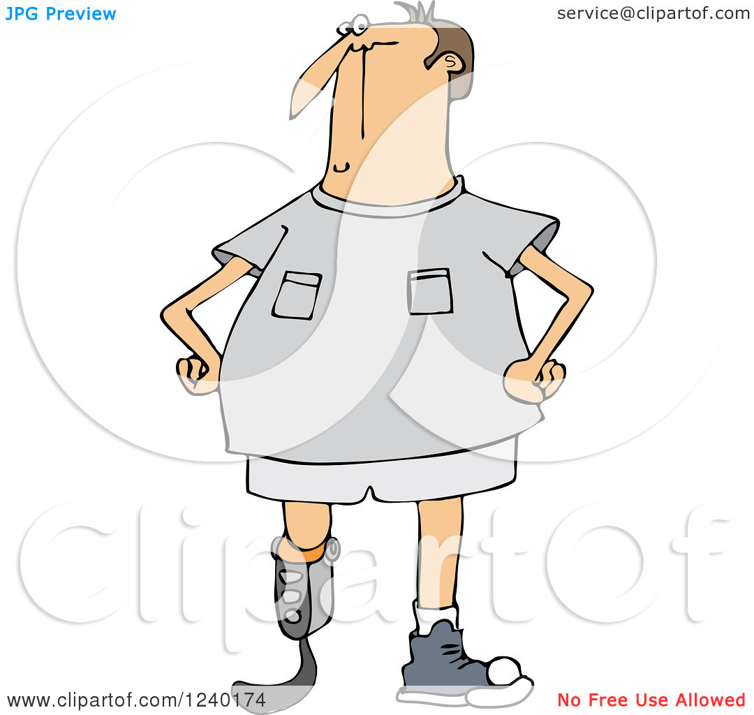 Clipart of a Blade Runner Caucasian Man with an Artificial.
