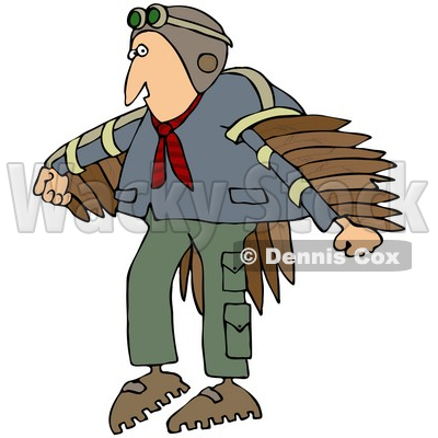 Free (RF) Clipart Illustration of a Man Wearing Artificial Wings.