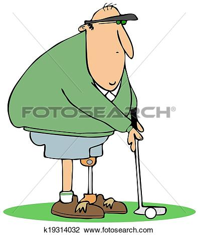 Clip Art of Golfer with an artificial leg k19314032.