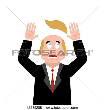 Clipart of Man and wig. Scared businessman lost their hair.