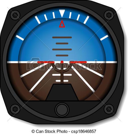 Clipart Vector of vector aviation airplane attitude indicator.
