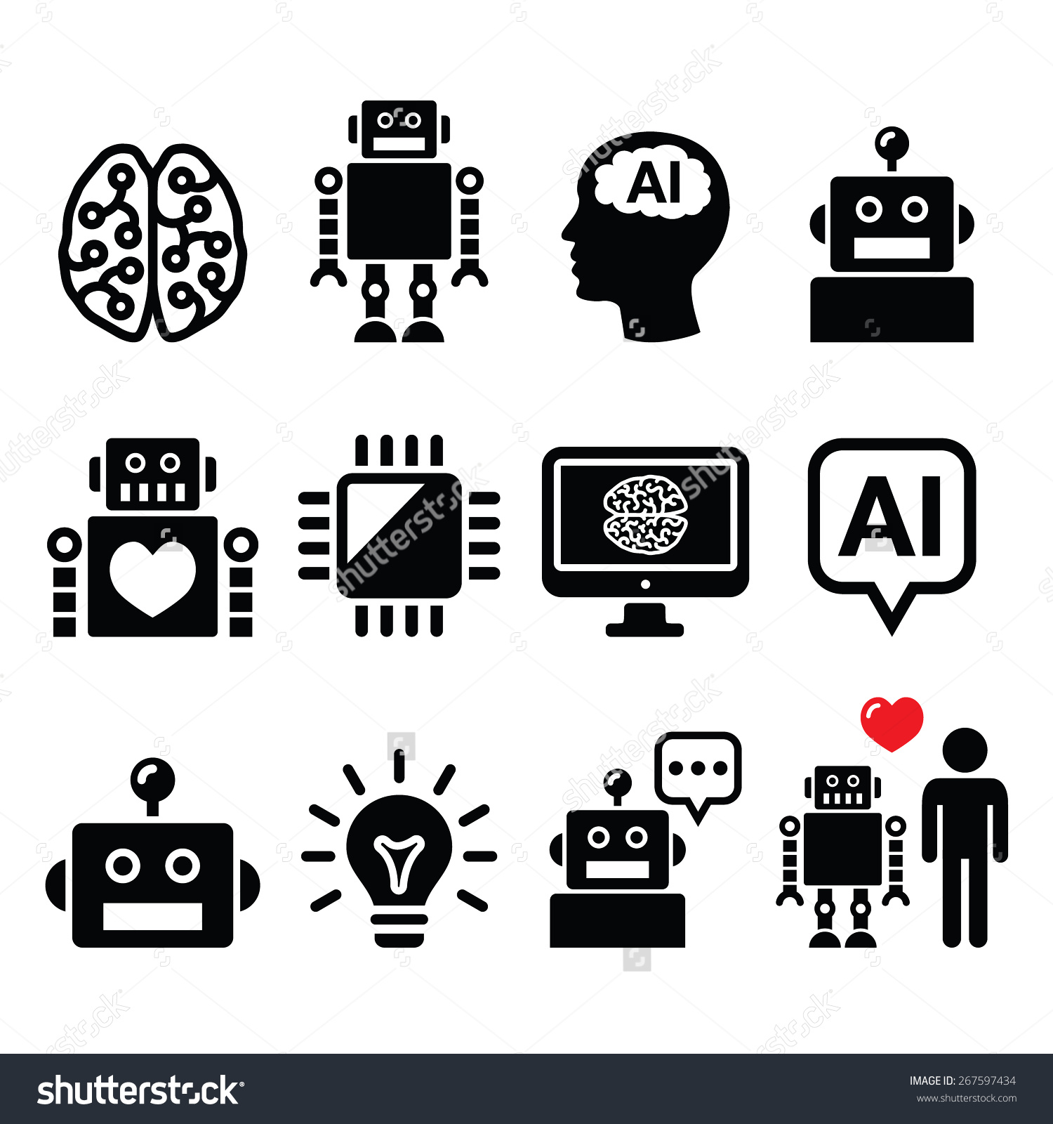 Artificial Intelligence Ai Robot Icons Set Stock Vector 267597434.