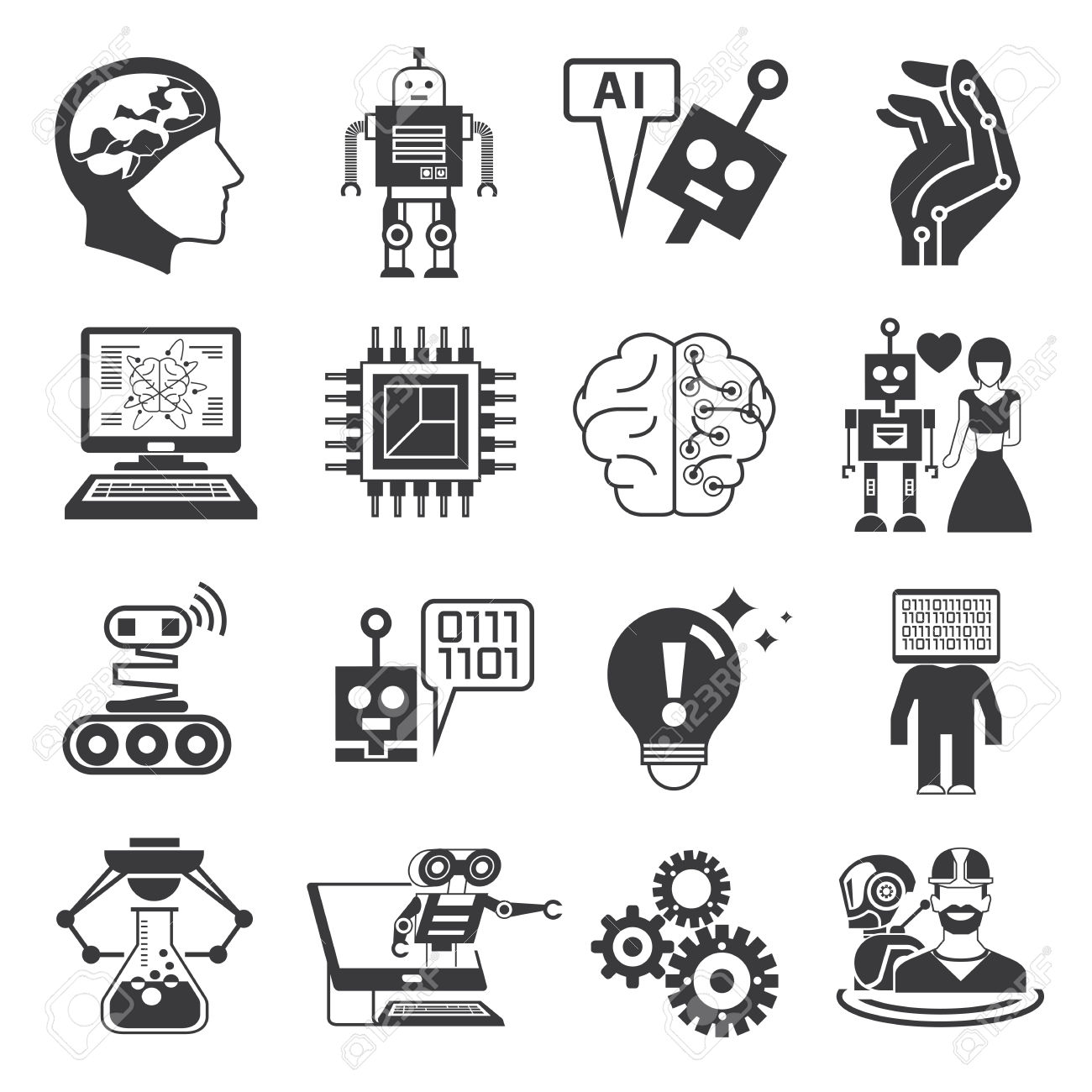 Robot Icons, Artificial Intelligence Icons Royalty Free Cliparts.