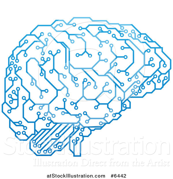 Vector Illustration of a Blue Artificial Intelligence Circuit.