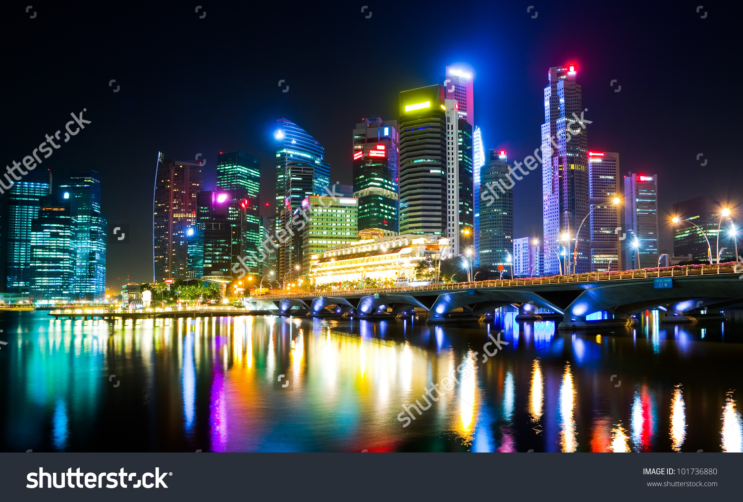 Night View City Artificial Light Reflecting Stock Photo 101736880.