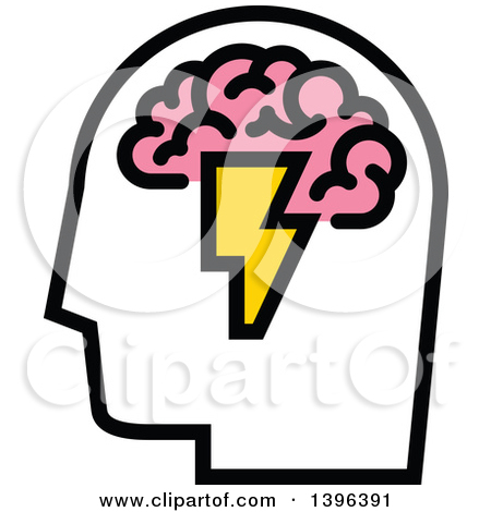 Clipart of a Pink Brain with Lightning Bolts.