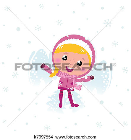 Clipart of Little cute pink child making angel in snow k7997554.