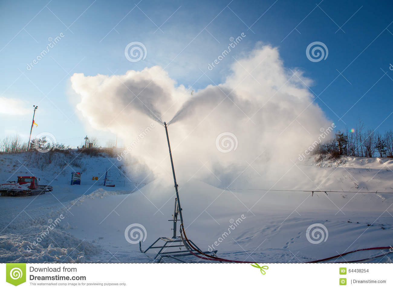System Of Artificial Snowmaking Stock Photo.